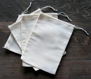 Natural Small White Linen Drawstring Pouch pictures & photos