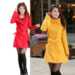 New Style Slim Thin Woolen Women Windbreaker Jacket (MU6641-1) pictures & photos
