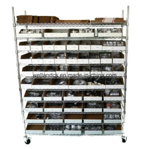 Movable Industrial Steel Wire Storagre Racking Shelving with Wheels pictures & photos