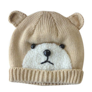 Acrylic Knitted Hat in Bear Pattern