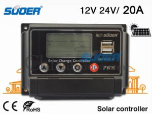 Suoer Solar Controller 12/24V Power Controller 20A Solar Charge Controller for Home Use Solar Controller with Best Price (ST-W1220) pictures & photos