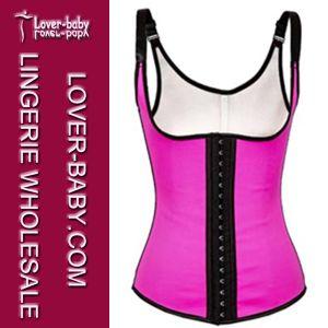 Hot Sale Plus Size Pink Latex Waist Training Vest Rubber Corset (L42635-5) pictures & photos