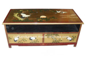 Crane Pine Chinese Lacquer Art Shine Furniture TV Stand