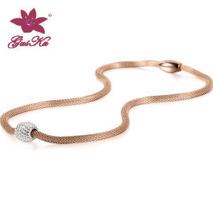 Fashion Stainless Steel Mesh Chain with Ball Pendant Necklace Jewelry