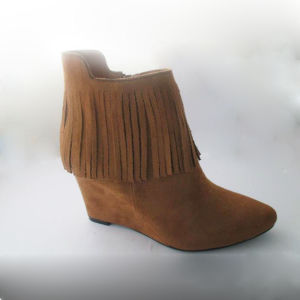 Micro Suede Wedge Heel Tassel Lady Ankle Boots