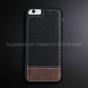 Black with Brown Genuine Leather Case for iPhone 6/6s pictures & photos