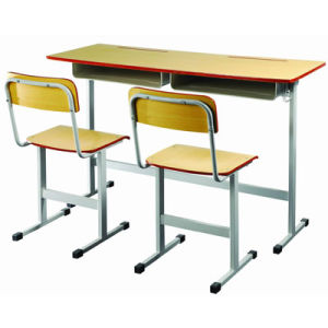 Chinese Wooden School Furniture Double Student Desk and Chair (FS-3231) pictures & photos