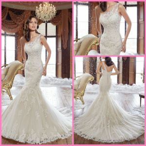 One Shoulder Bridal Wedding Gown Mermaid Lace Tulle Beads Wedding Dress SPA21501 pictures & photos