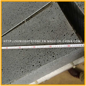 Honed Dark Grey/Black Basalt with Holes for Flooring Tiles, Basalt Tiles pictures & photos