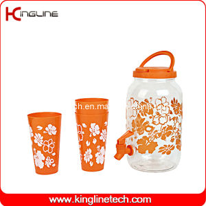 1 Gallon Sun Tea Plastic Jug (glass and pet material) Wholesale BPA Free with Spigot and Four Cups (KL-8007) pictures & photos