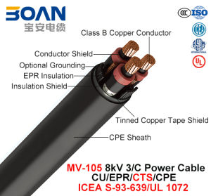 Mv-105, Power Cable, 8 Kv, 3/C, Cu/Epr/Cts/CPE (ICEA S-93-639/NEMA WC71/UL 1072) pictures & photos