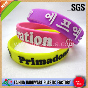 Custom Design Embossed Screen Printed Silicone Bracelet (TH-616) pictures & photos