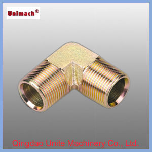 Yellow Zinc-Plated Hydraulic Adapters Fitting with 90° NPT Male/Npsm Female 60° Cone pictures & photos