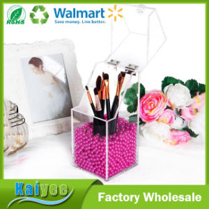 Clear Acrylic Makeup Organizer with Glossy Rosy Pearl - Small pictures & photos