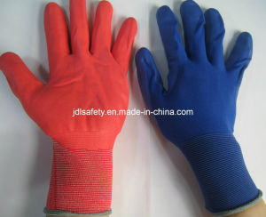 Colorful Nylon Knitted Work Glove with Foam Nitrile Dipping (N1606) pictures & photos