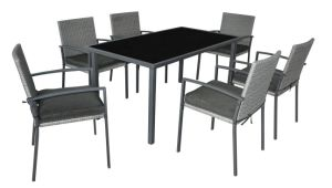 Kd Steel Dining Set Rattan Furniture Outdoor Table