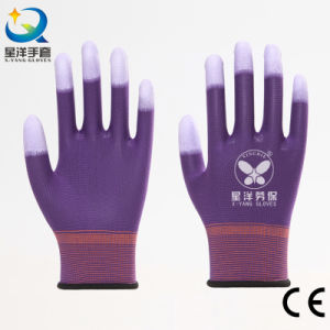 Finger Reinforced PU Coated Safety Gloves pictures & photos