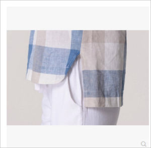 Plus Size Linen Plaid Shirt for Ladies with Round Neck pictures & photos