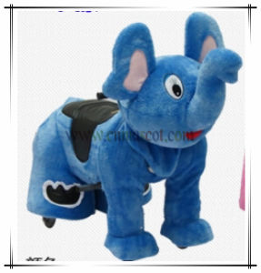 Blue Color Elephant Kids Ride Plush Animal Car Factory Price