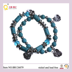 Latest Design Two Row Turquoise Pendant Bracelet, Mother′s Day Gift pictures & photos