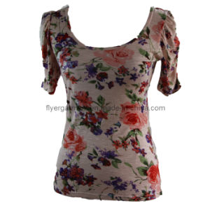 Woman′s 100%Viscose Bamboo Shirt with Fashion Design Printing (MDC-105)