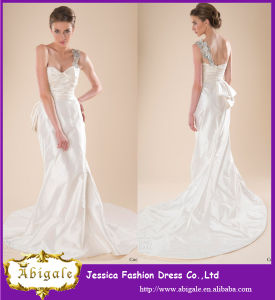 2014 Charming A Line One Shoulder Applique with Bow Knot Floor Length Ivory Wedding Dresses (YC050)