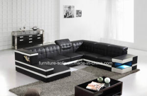 High Density Sponge Corner Italy Leather Sofa with Lockers (S071)