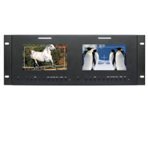 "7"" PRO-Broadcast Dual Rack Mount LCD Monitor with HDMI/AV/YPbPr/3G-Sdi pictures & photos"