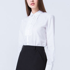 White Women Office Blouse Long Sleeve Fashionable Formal Shirt pictures & photos