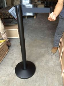 Black Painted Retractable Belt Crowd Control Barrier for Airport