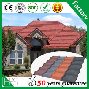 Stone Chips Coated Steel Tile /Guangzhou Building Material, Colorful Aluminum Zinc Steel Plate Stone Coated Metal Roof Tile pictures & photos