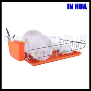 PVC Coated Dish Rack with Plastic Tray