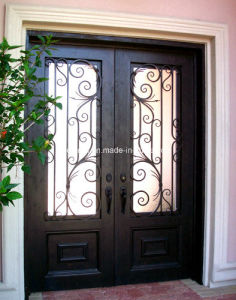 Steel Exterior Doors with Transom and Tempered Glass pictures & photos