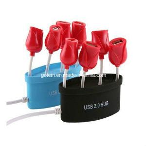 Rose Flower 4 Port USB HUB