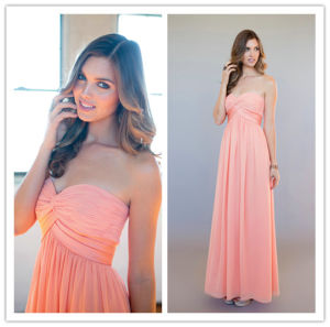 2014 New Designe Pink Sweetheart Sleeveless Ruched Floor Length Bridesmaid Dress (MQ1008)