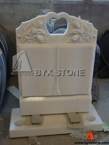 White Marble Stone Book Monument / Headstone with Flower Carving pictures & photos