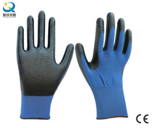 13G Polyester Zebra-Stripe Natrile Coated Glove Labor Protective Safety Work Gloves (N6041) pictures & photos