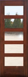 Mahogany 5 Glass Lites Composite Wood Door Design (S4-1008) pictures & photos