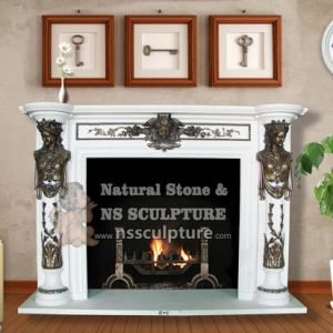 Small Fireplace Mantel in White with Statues Bronze Casting 150 X 120cm pictures & photos