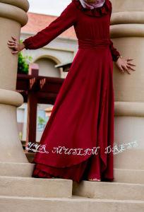 Dubai Islamic Clothing Chiffon with Ruffled Round Neckline Red Muslim Dress