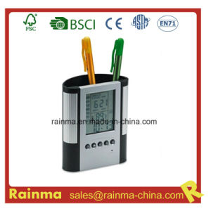 Plastic Pen Holder with Clock. Alarm& Weather Station pictures & photos