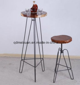 Country, Wrought Iron Solid Wood Carved Plate Bar Stool Can Be Creative, Lifting High Bar Table and Chair Stool (M-X3623) pictures & photos