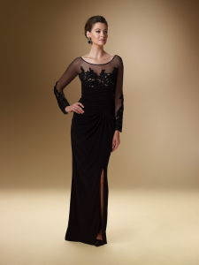 Black Long Evening Dress Mother of Bridal Dress A6-015