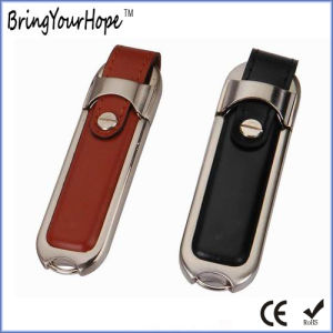 Leather Metal USB Pen Drive with Button (XH-USB-029) pictures & photos