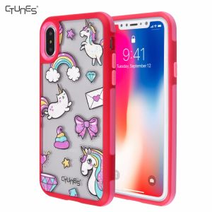 Rainbow Unicorn Printed Soft TPU Gel Frame Cover Matte PC Interchangeable Back Plate Shockproof Bumper Case for Apple iPhone X pictures & photos