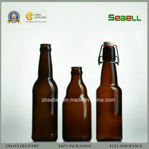 Brown Color Glass Beer Bottle with Flip Top in 330ml (NA-028) pictures & photos