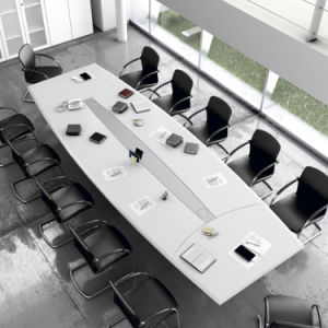 High Quality Modern High Gloss White Artifiical Marble Smart Conference Table pictures & photos