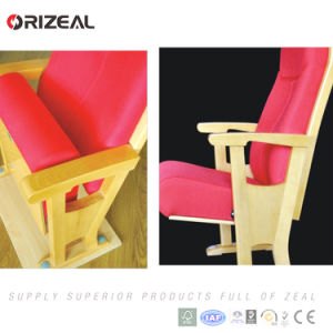 Orizeal Red Upholstered Fabric Folding Floor Theatre Seats with Wood Armrest (OZ-AD-002) pictures & photos