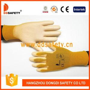 13gauge Orange Nylon Liner Coated White PU Work Gloves Dpu162 pictures & photos