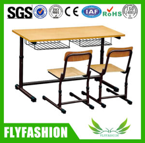 Wooden Double Elementary School Desk with Chairs (SF-34C) pictures & photos
